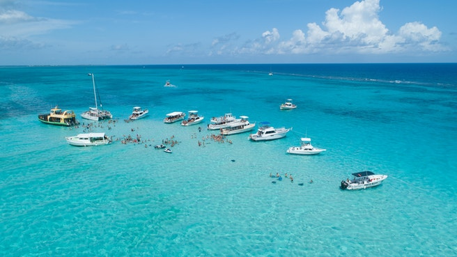 Aerial view of boats docked at stingray city