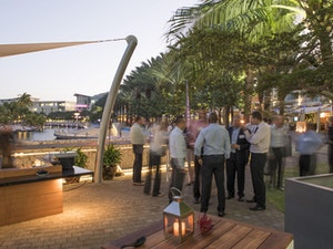 After hours work function at Camana Bay in the Cayman Islands