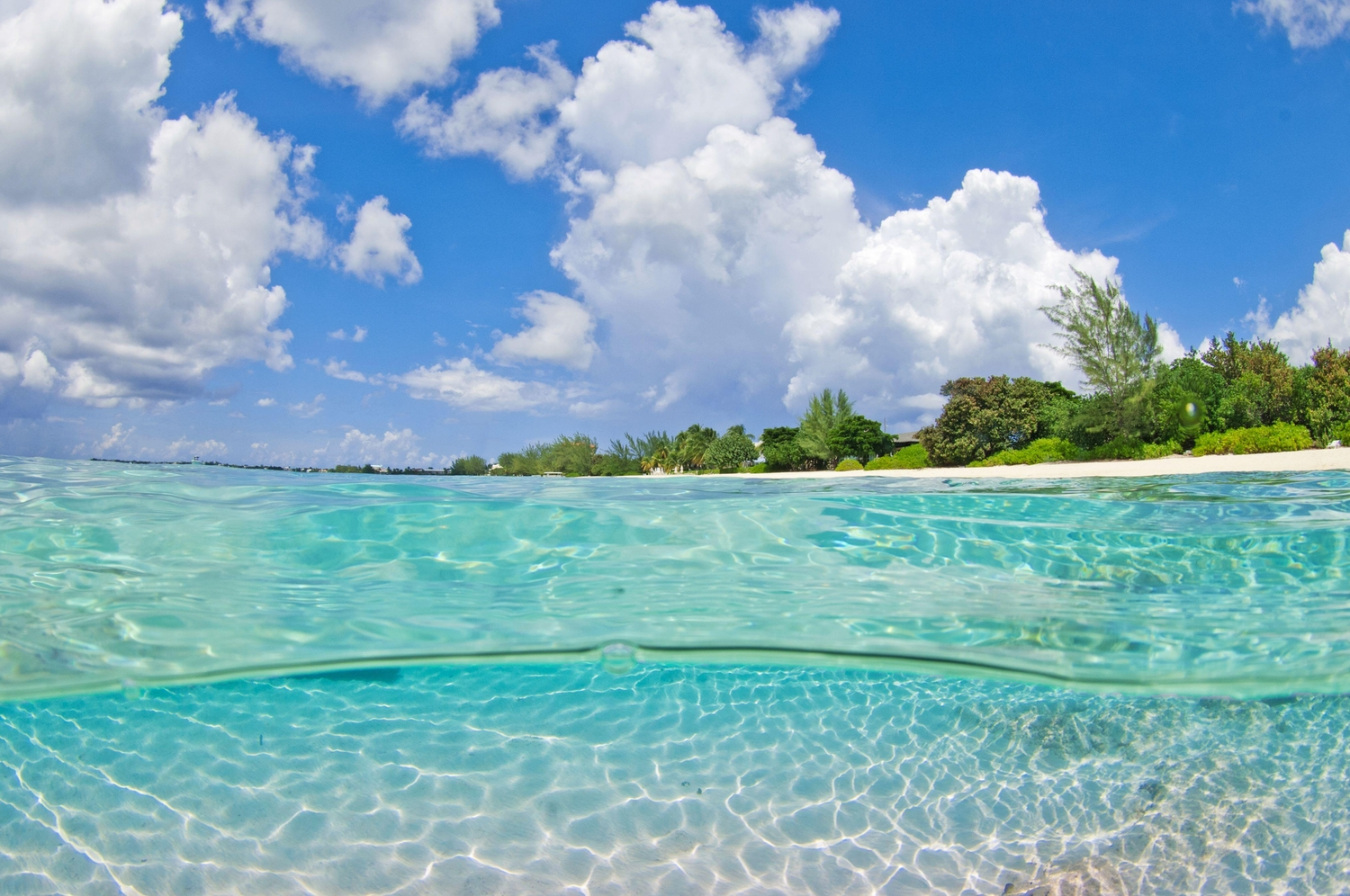 Beach over under in the Cayman Islands