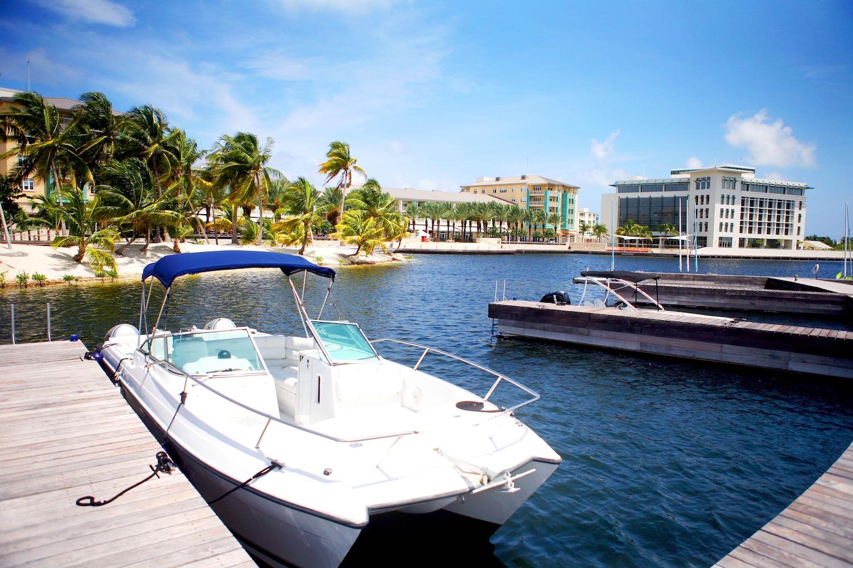 Boat docked in Camana Bay in the Cayman Islands