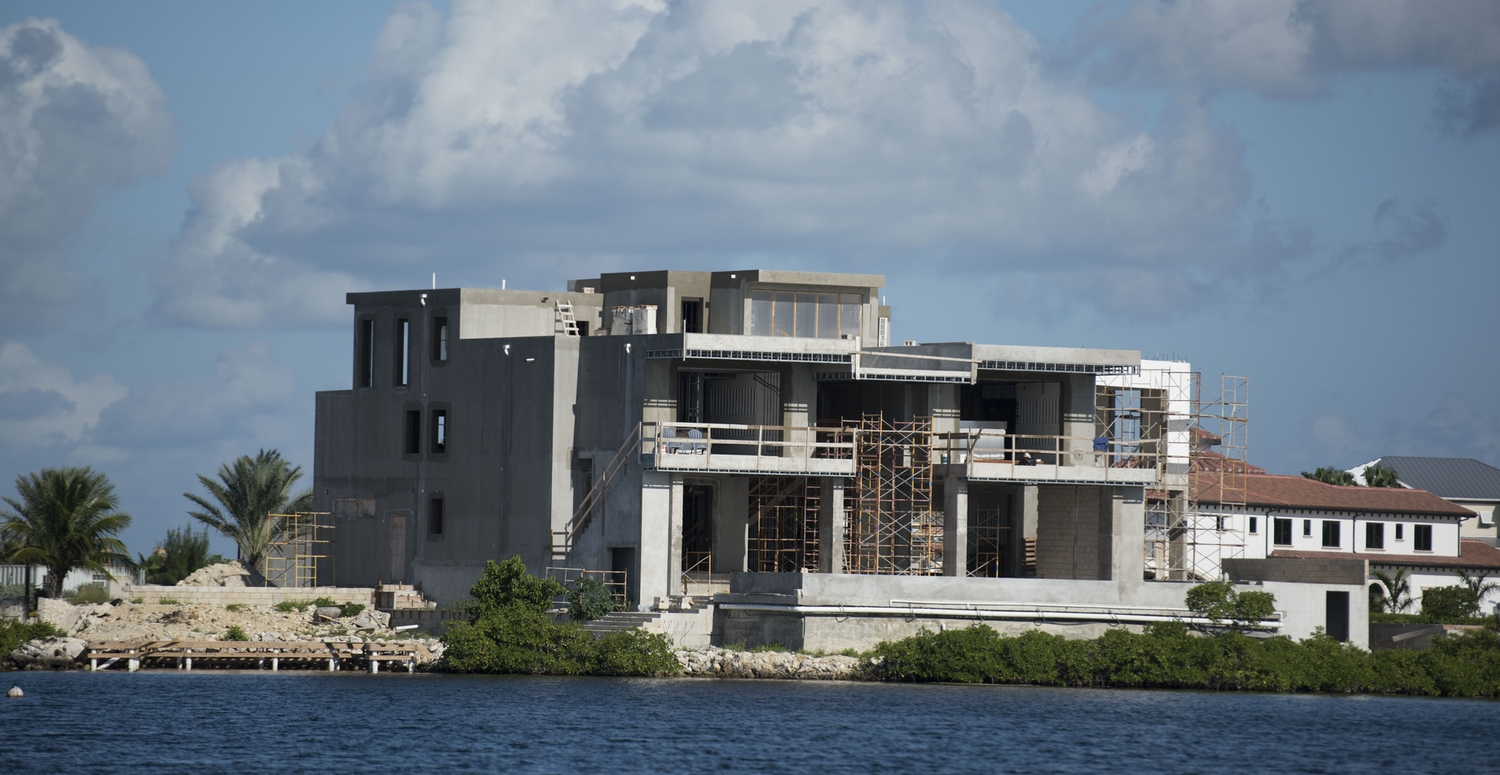Building a big home in the cayman islands on the canal