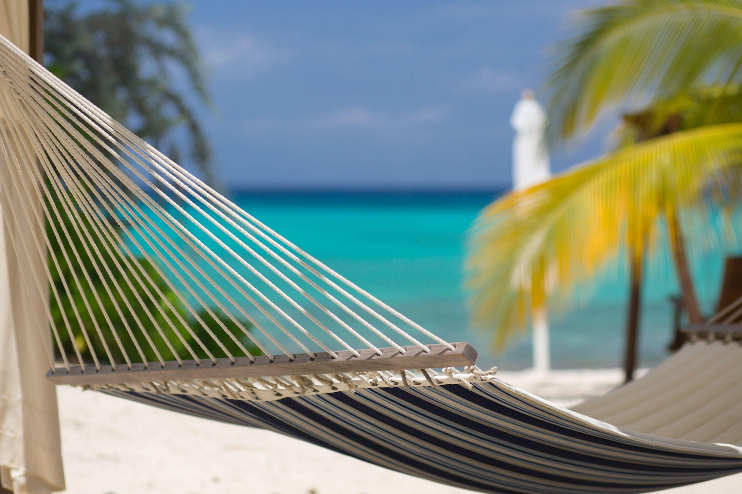 Close up of hammock on beach in the Cayman Islands
