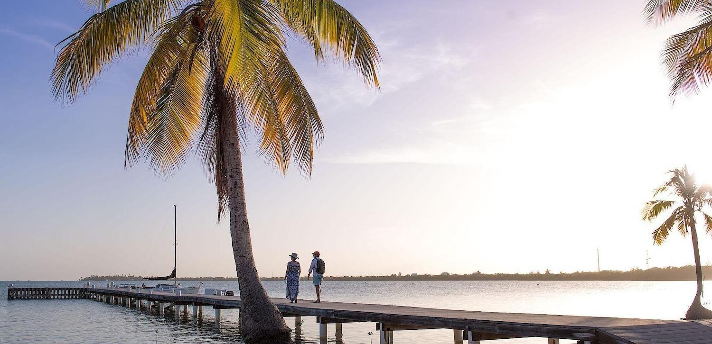 Couple walking along wooden pier near a palm tree on the beach