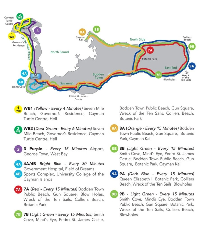Full Map of Cayman Bus Routes 2019 886x1024