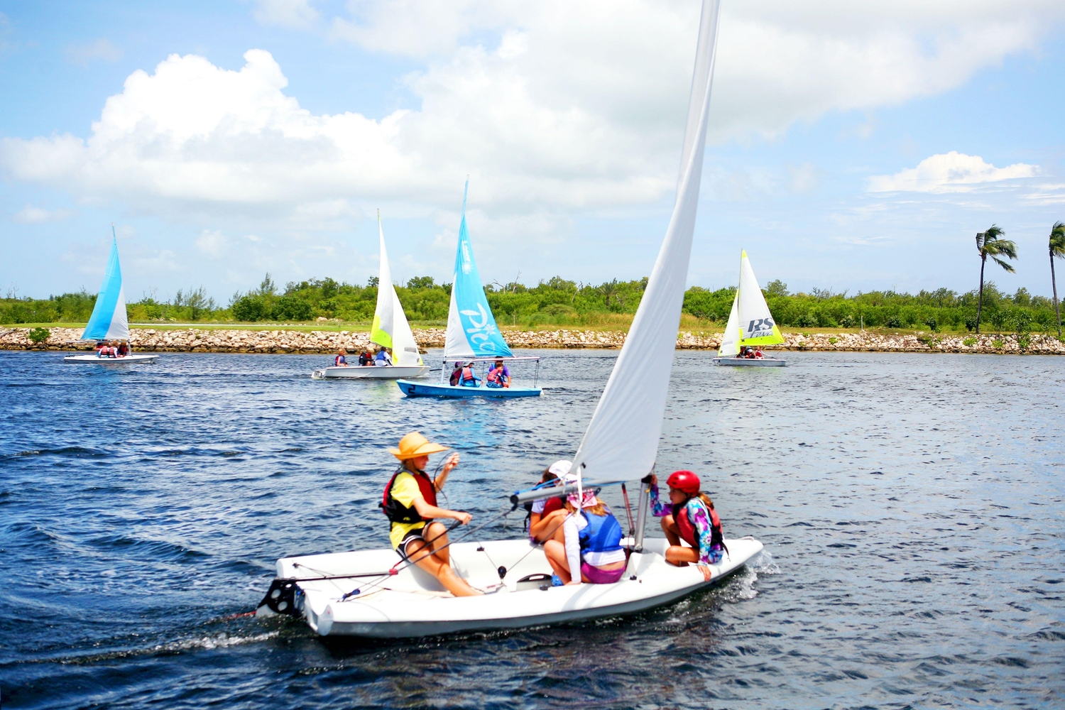 Group of young sailors training in the Cayman Island waters