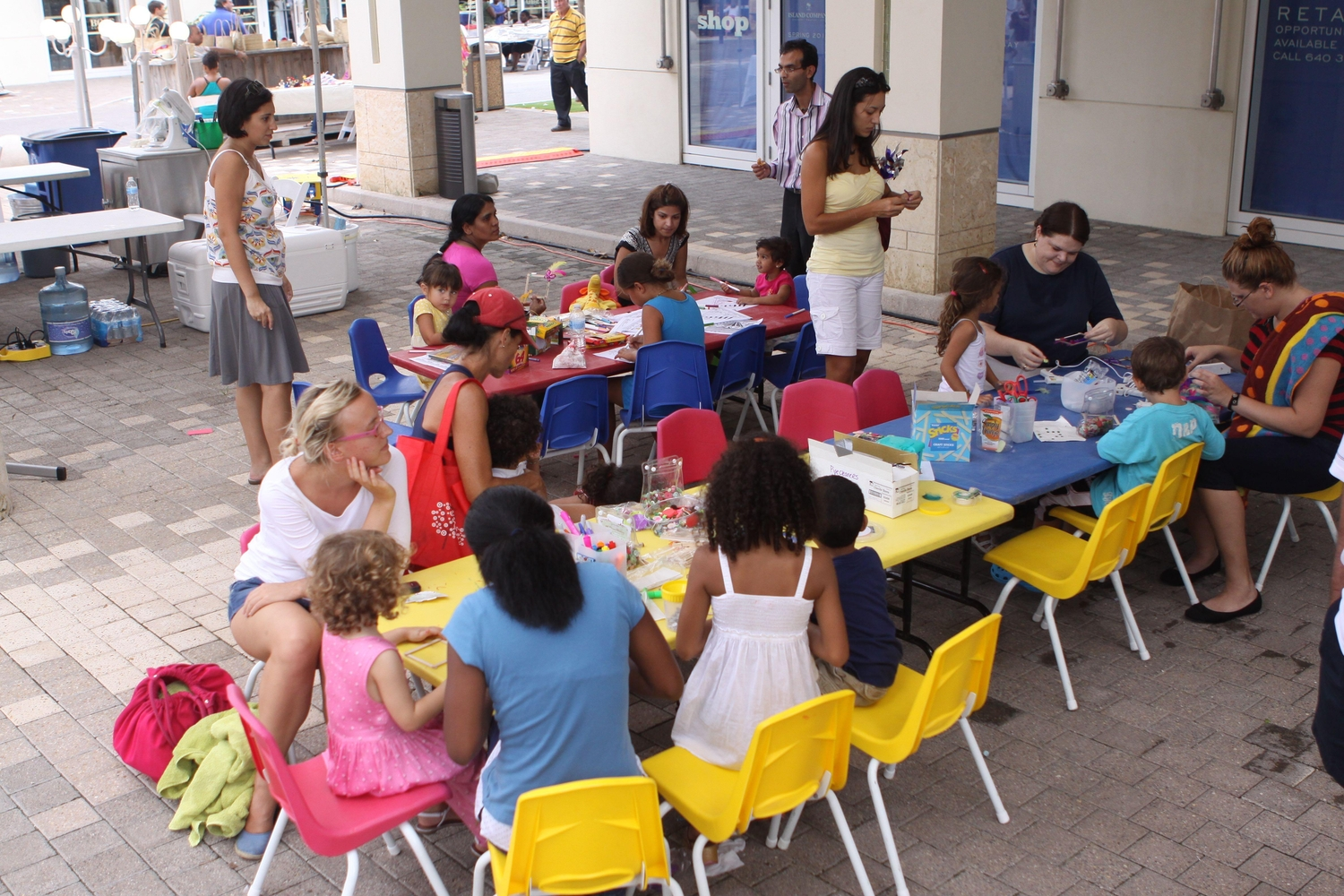 Kids doing arts and crafts in the Cayman Islands