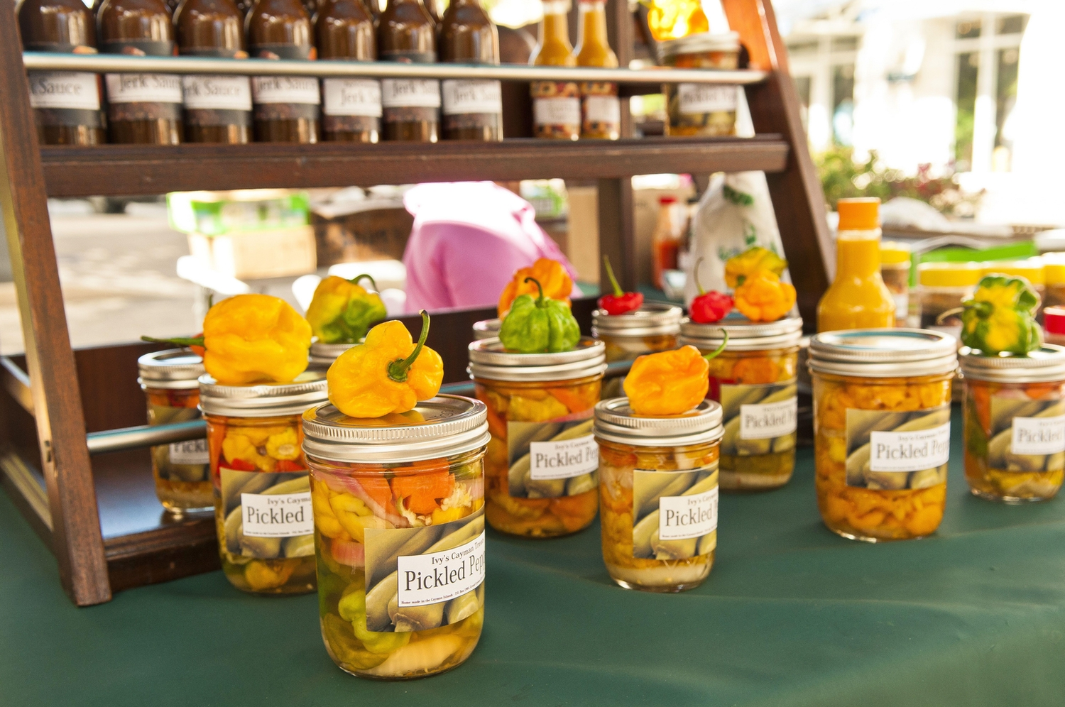 Locally made pickled peppers at the farmers market