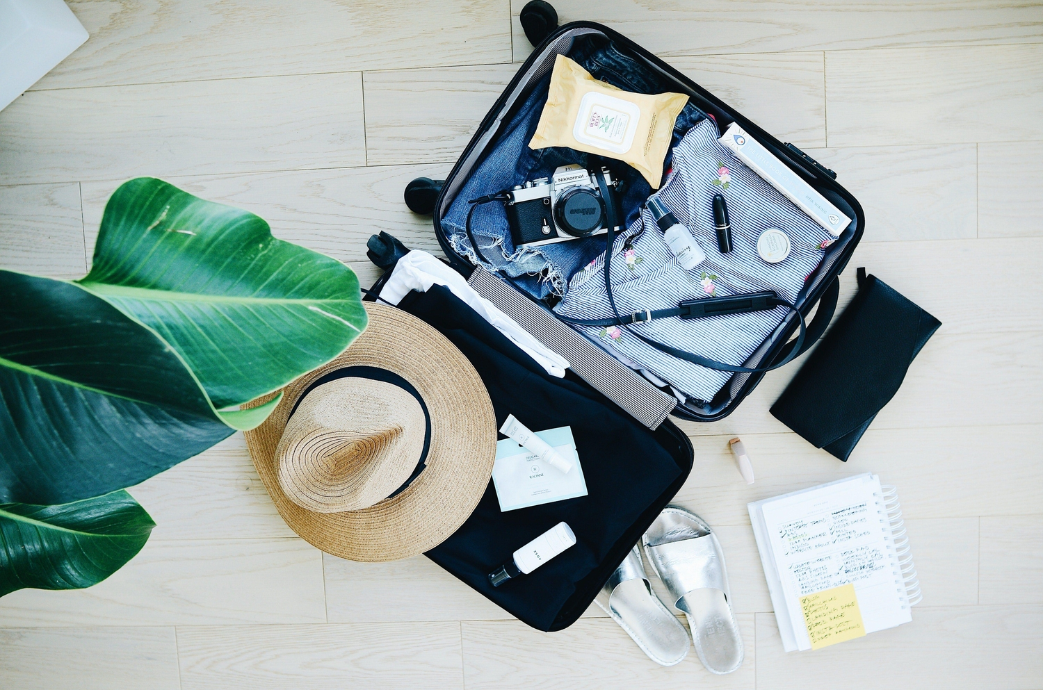 Open luggage on floor with hat and camera