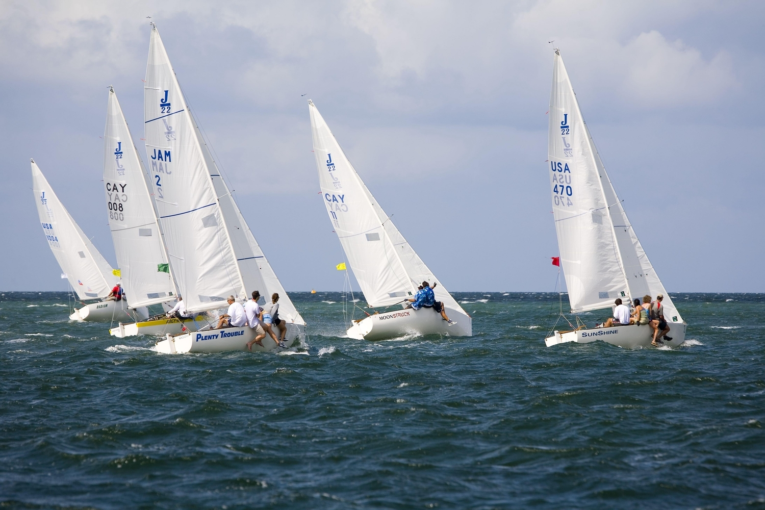 Group of sailing boats out on the open ocean
