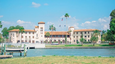 View across the lake of Admiral Farragut boarding school