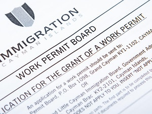 Work permit application form for the Cayman Islands