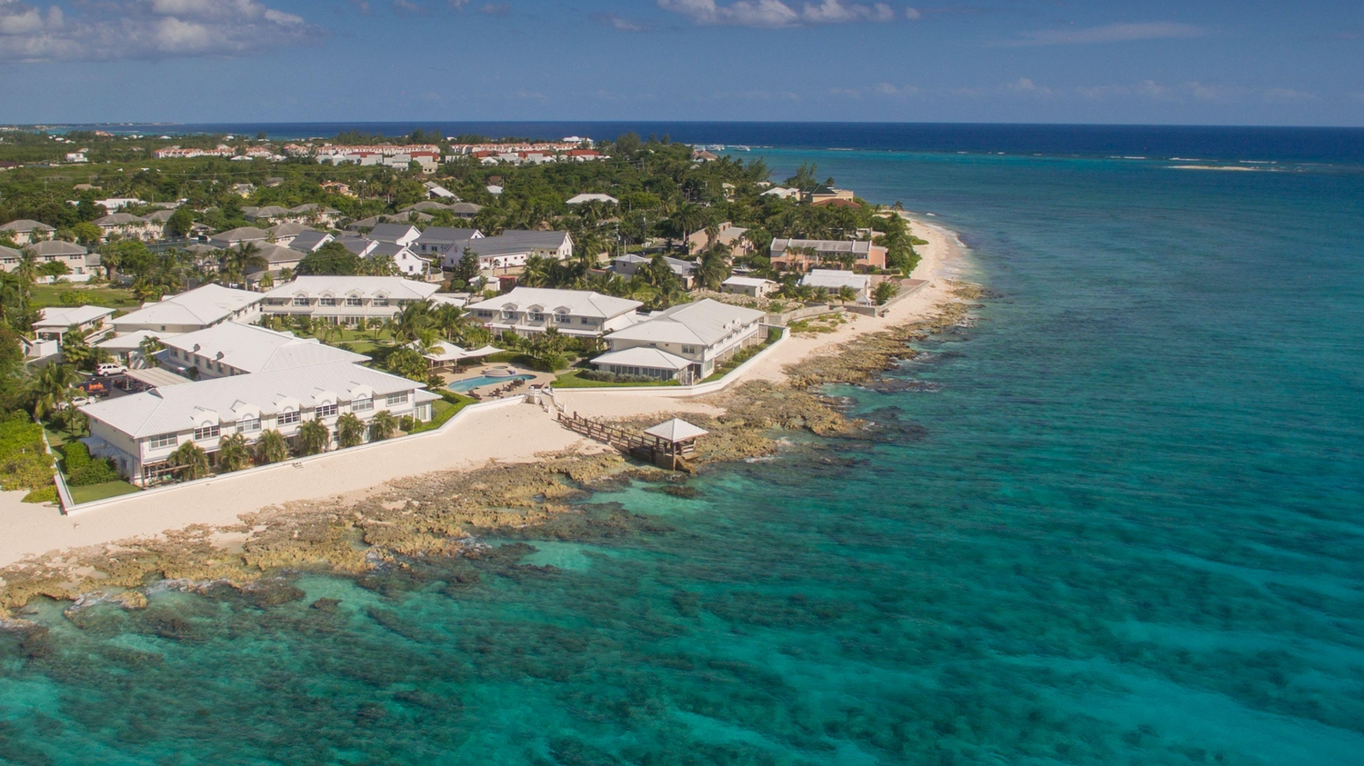 Aerial view of windsor village in south sound cayman islands