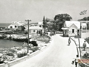 Archive image of curving main road in old George Town