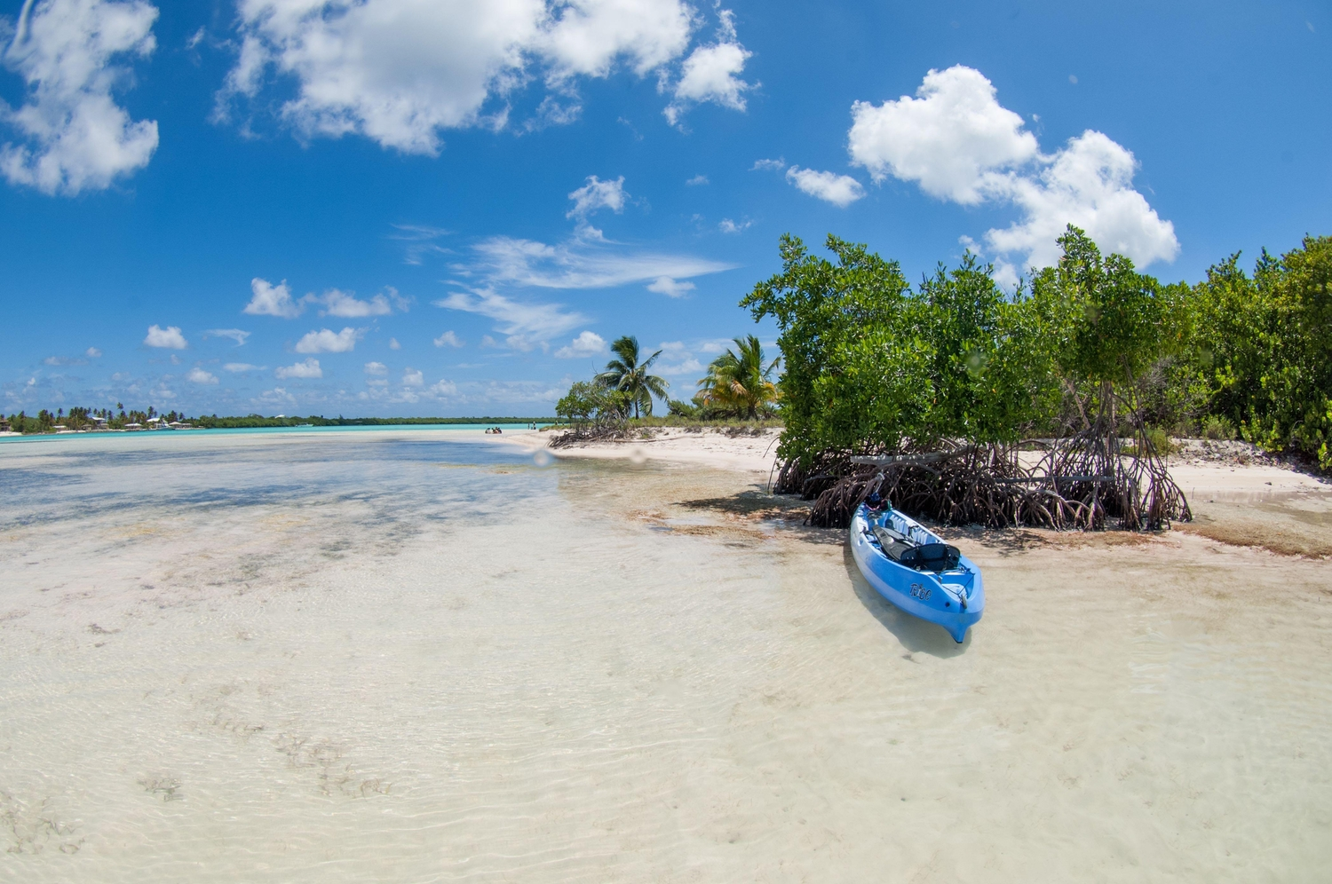 Beachy view of Sand Cay at Little Cayman with a blue kayak