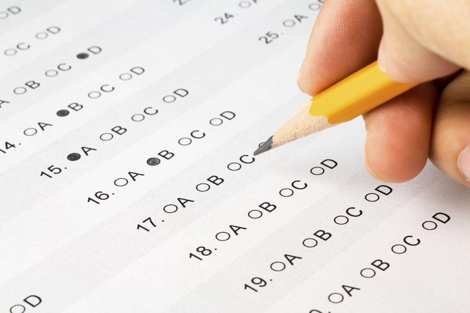 Close up image of a multiple choice test