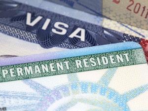 Close up of american permanent resident visa