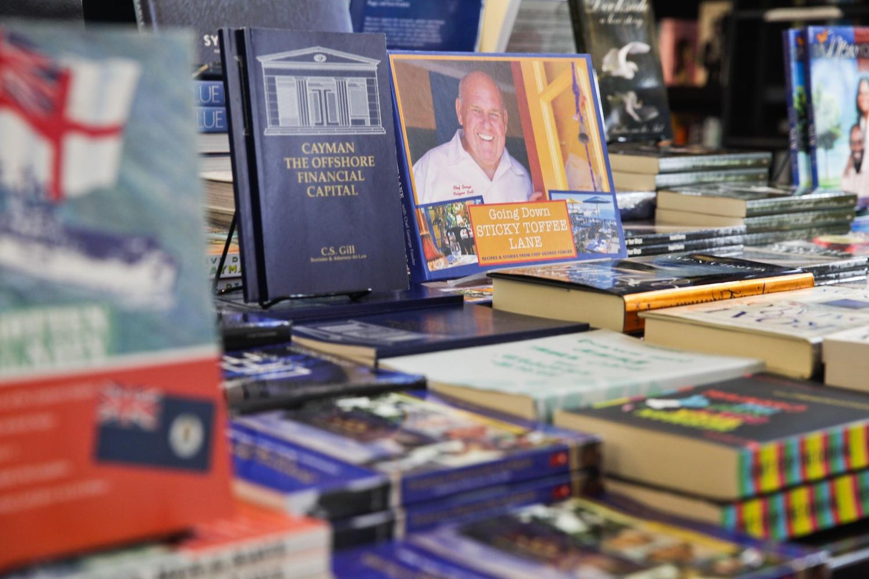 Close up of book display in book shelf