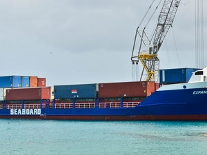 Freight container in george town harbour