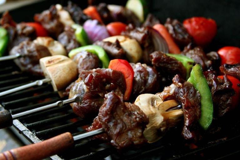 Healthy veggie skewers on the grill