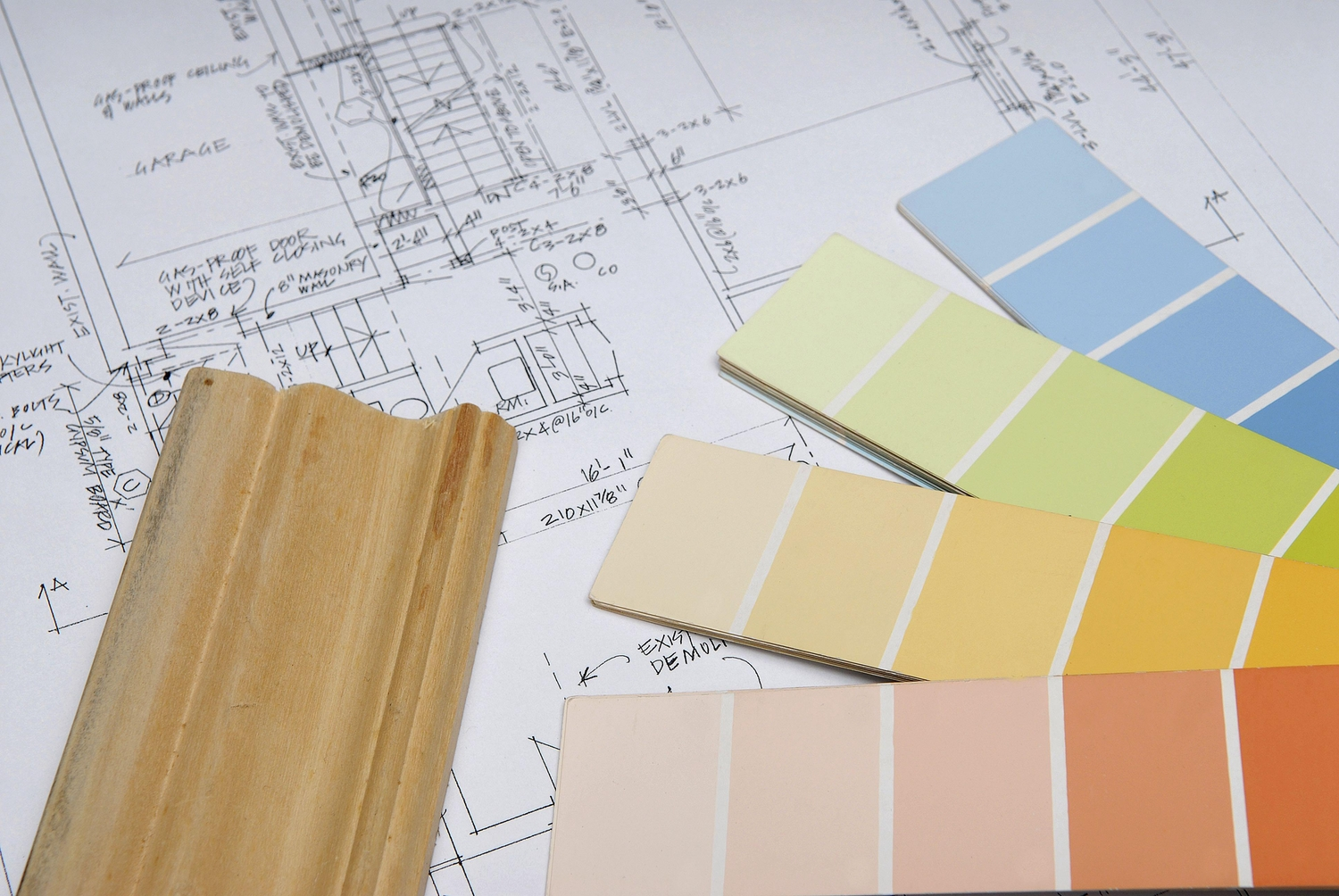 Home renovations with plans paint and wood sample