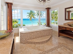 Panned out view of renovated bathroom