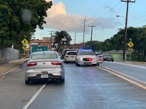 Police car in cayman islands traffic in savannah