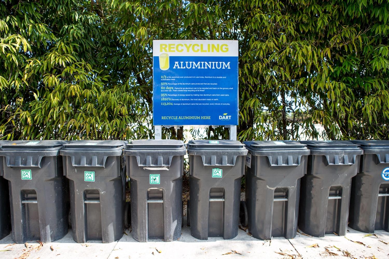 Row of recycling bins in camana bay
