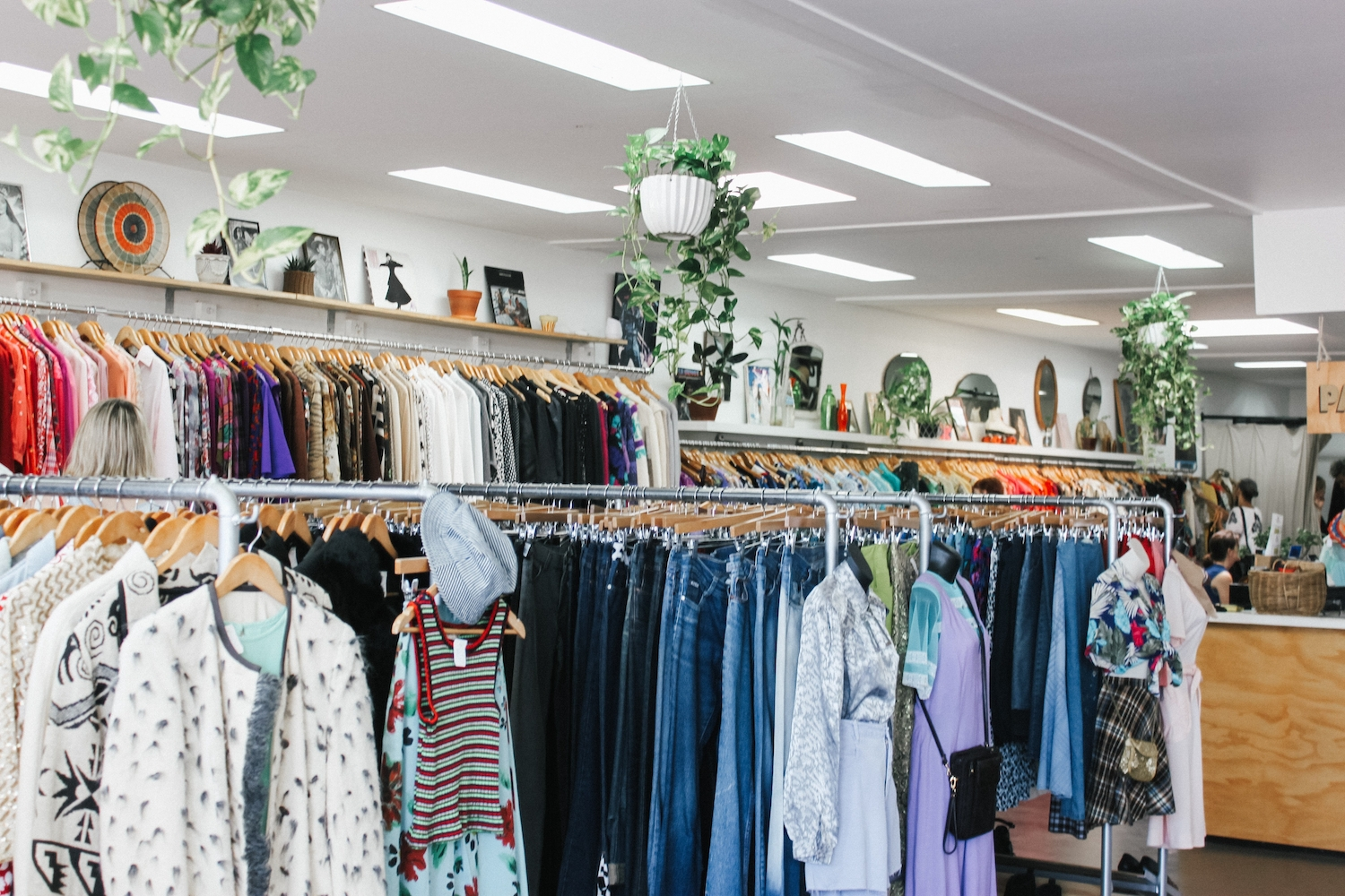 View of clothing for salein a thrift shop