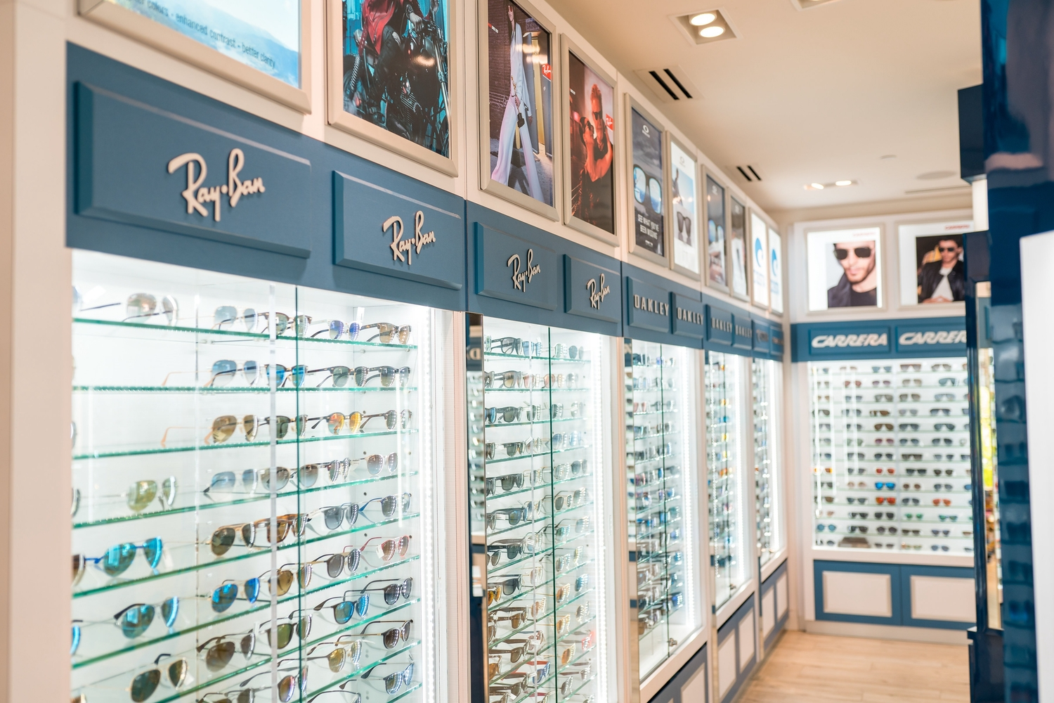 View of luxury brand sunglasses in shop